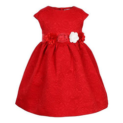 RED JACQUARD DRESS - ruffntumblekids