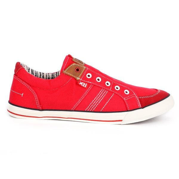 BOYS RED LACE-LESS CASUAL SNEAKERS