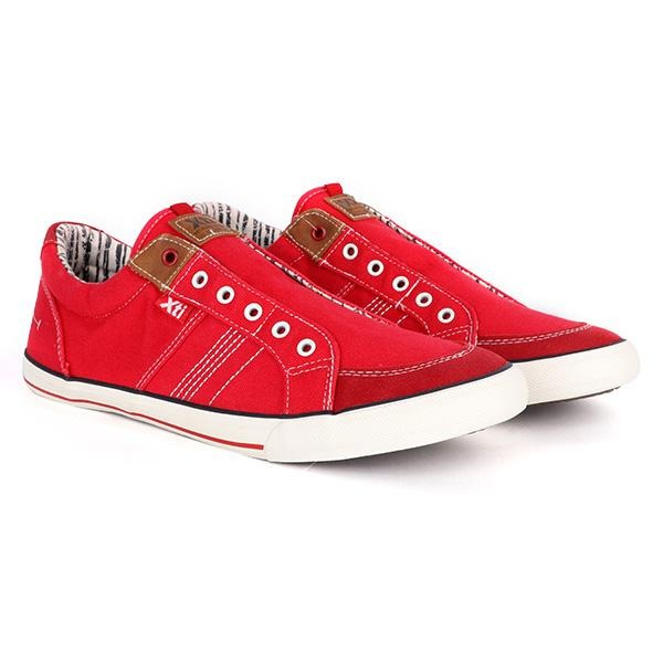 Red Laceless Casual Sneakers