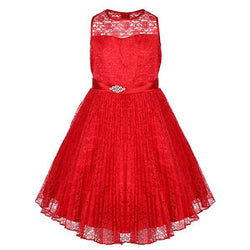 Red Pleated Lace Fit And Flare Dress
