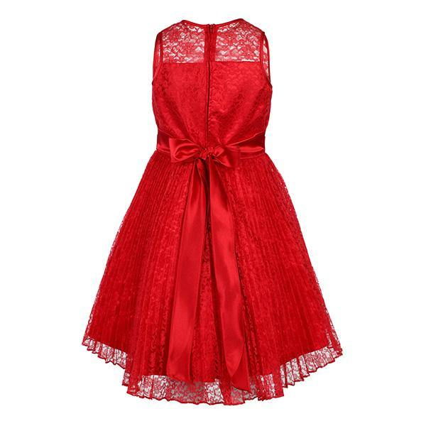 Girls Red Pleated Lace Fit And Flare Dress - ruffntumblekids