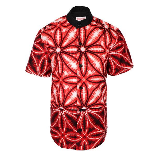 Red Nehru Collar Ankara Shirt