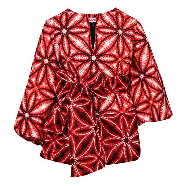 Red Puff Sleeve Ankara Blouse