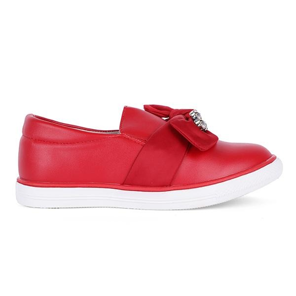 Red Slip-On Sneakers With Stones - ruffntumblekids
