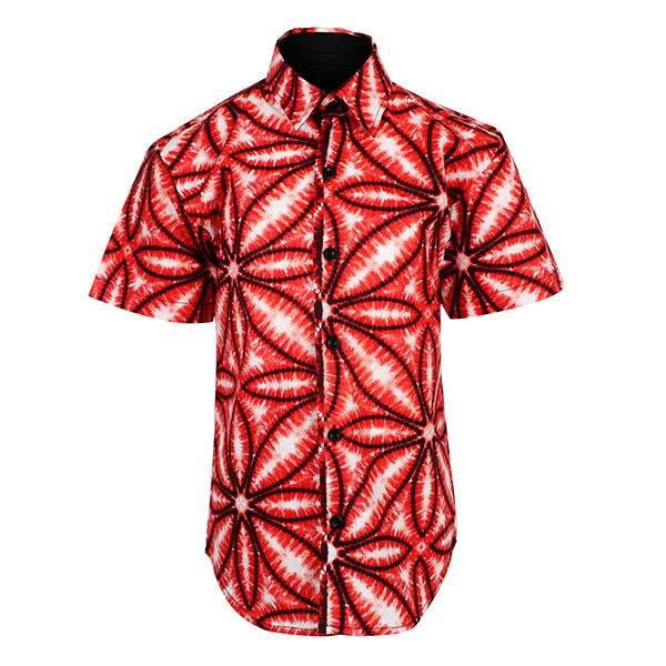RED ANKARA PRINT SHIRT