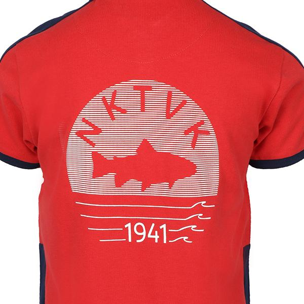 BOYS RED 'NKTVK' COTTON POLO