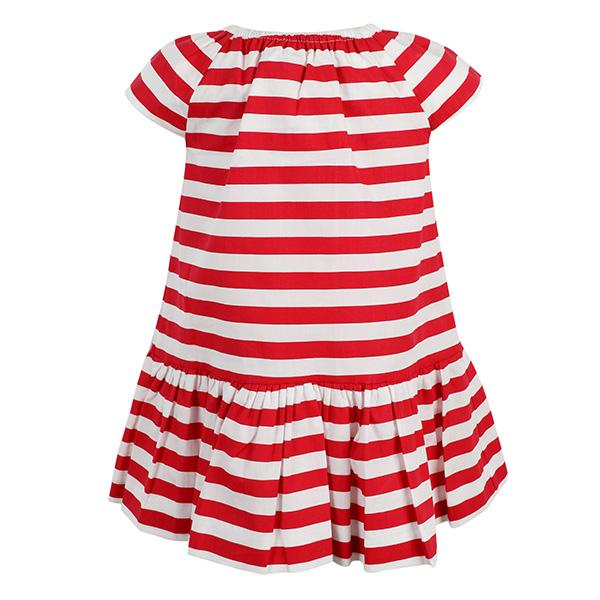 RED STRIPES POPLIN DRESS