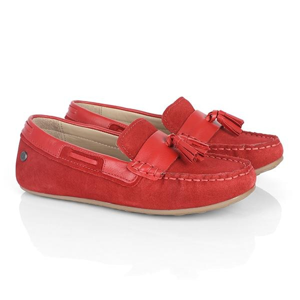 BOYS RED SUEDE CASUAL MOCCASIN