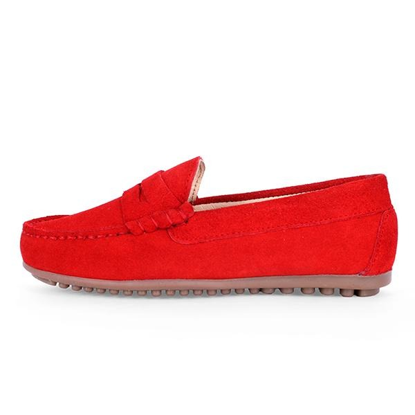 BOYS RED SUEDE FORMAL MOCCASIN
