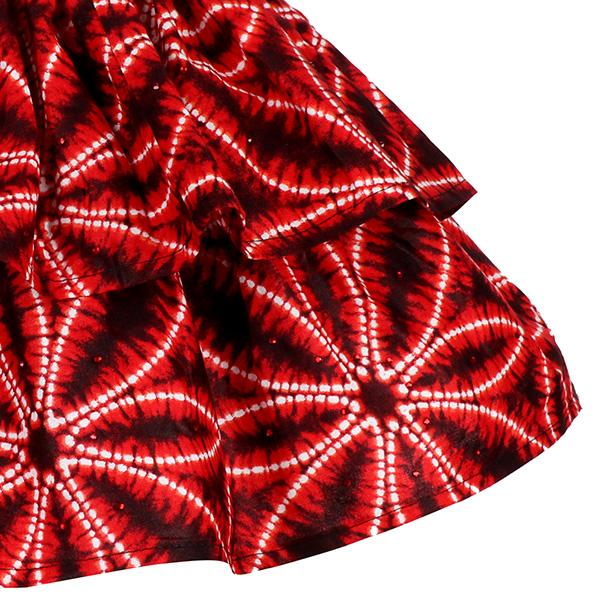 RED TIERED ANKARA PRINT SKIRT - ruffntumblekids