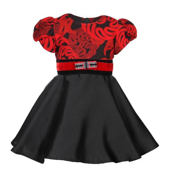 Red/Black Puff Sleeve Damask Dress