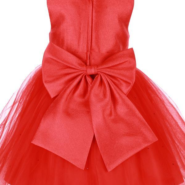 GIRLS RED BEADED NECKLINE PARTY DRESS