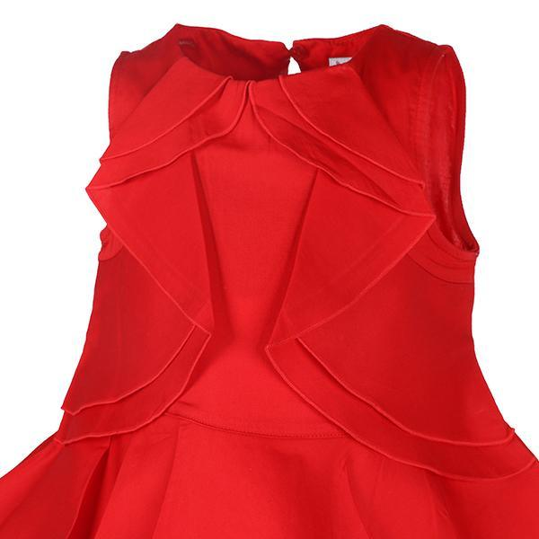 GIRLS RED SLEEVELESS RUFFLE BLOUSE