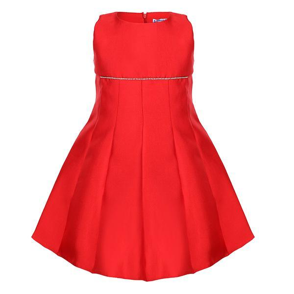 Red Taffeta Pleated Ceremony Dress