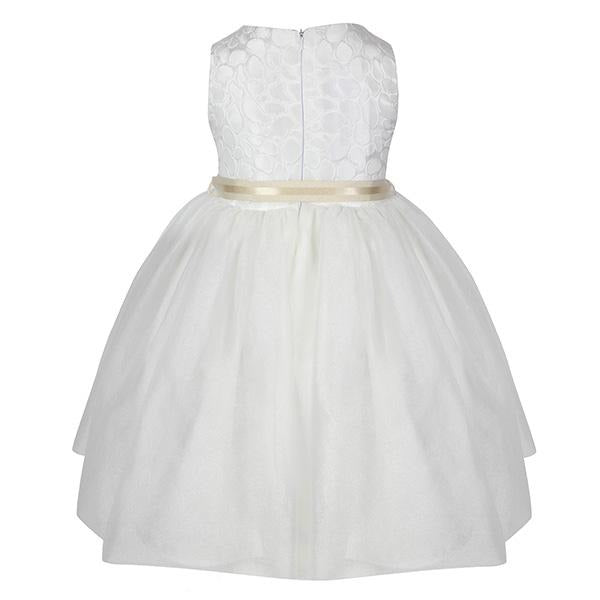 Girls White Damask Ball Dress_ruffntumble