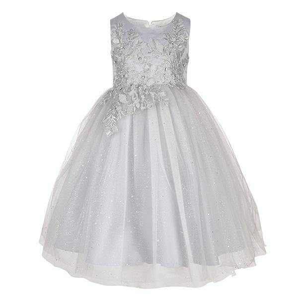 Silver Sparkly Embroidered Ball Dress - ruffntumblekids