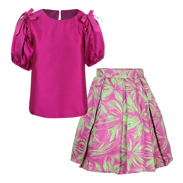 girls purple printed skirt and blouse set