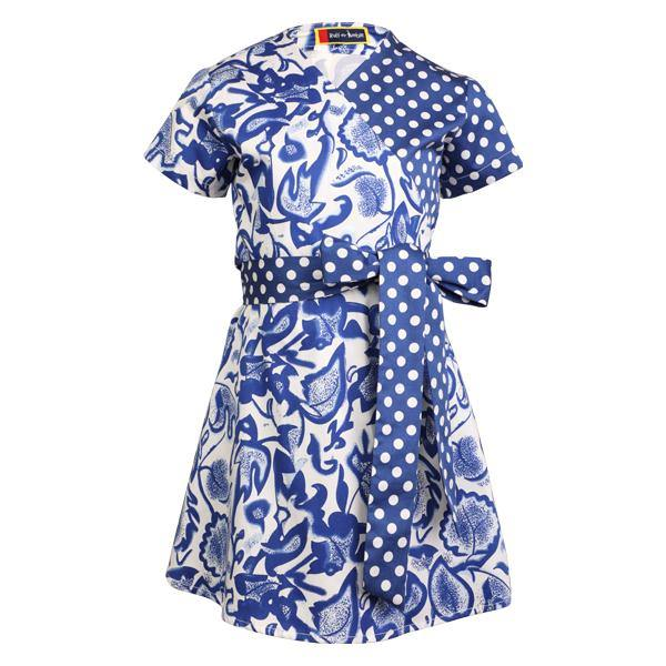 GIRLS MIXED PRINT WRAP DRESS - BLUE - ruffntumblekids