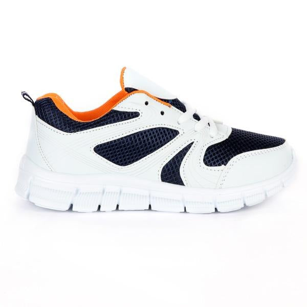 Girls White/Navy Lace Up Sneakers - ruffntumblekids
