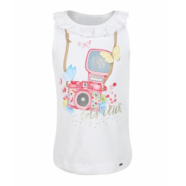 WHITE/PETUNIA COTTON T-SHIRT