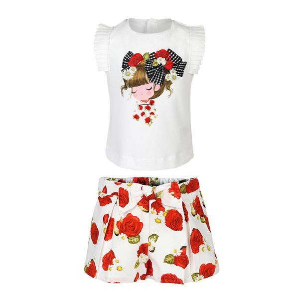 White/Red Printed Short Set