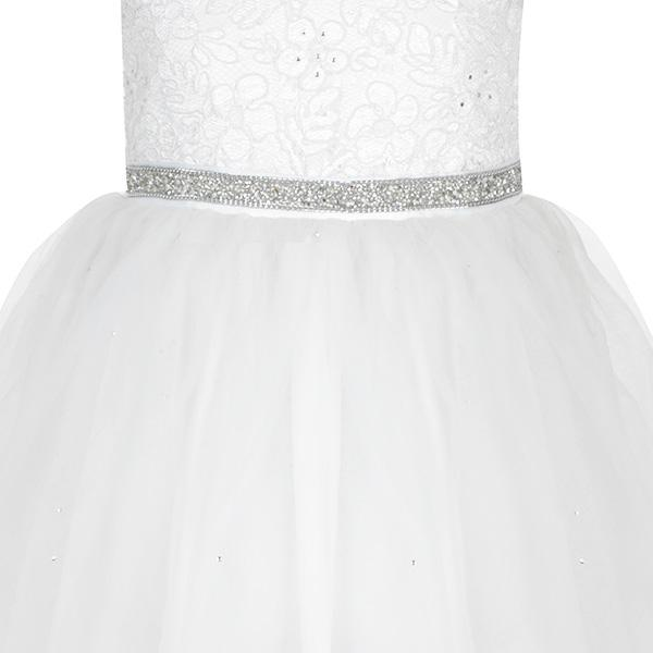 WHITE BALL DRESS WITH CUTE BOW - ruffntumblekids