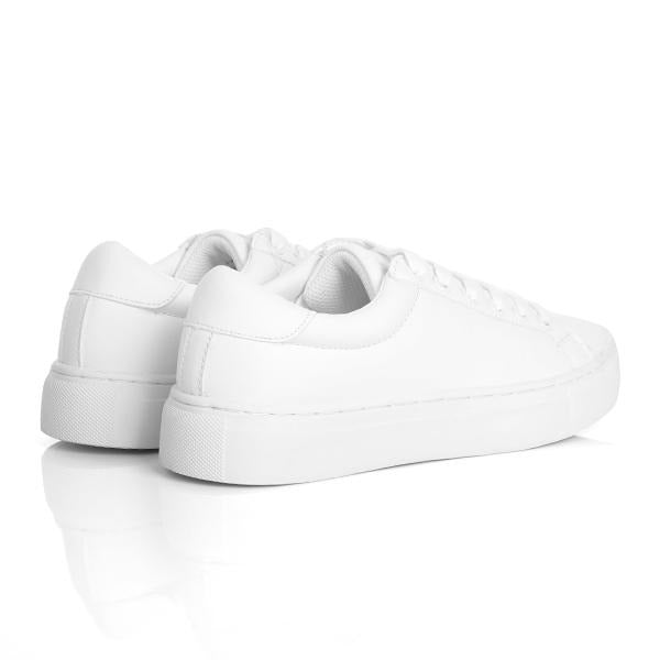 WHITE BASIC LACE UP SNEAKERS