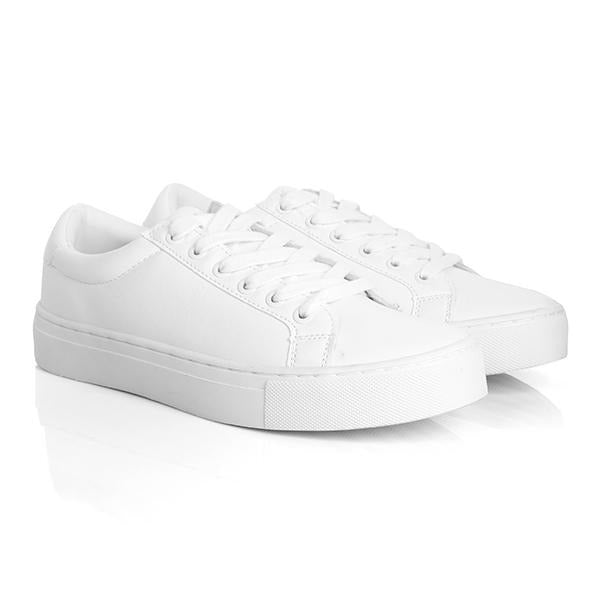WHITE BASIC LACE UP SNEAKERS - ruffntumblekids