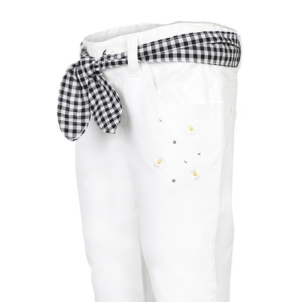 WHITE EMBROIDERED TWILL PANTS