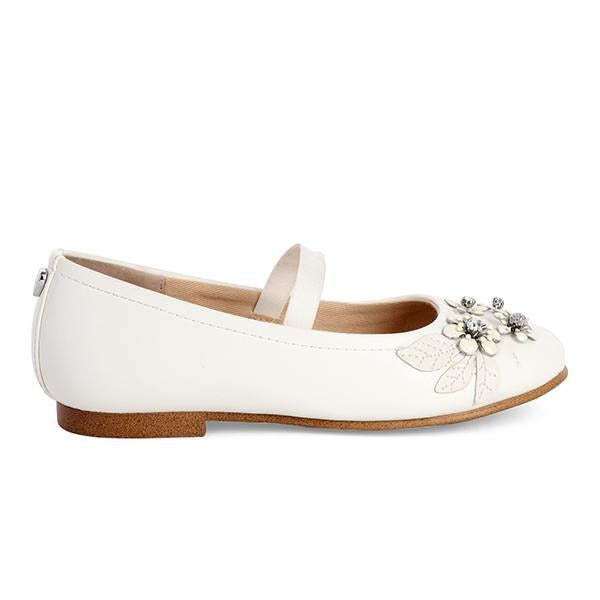 WHITE FLOWERY FORMAL SHOES