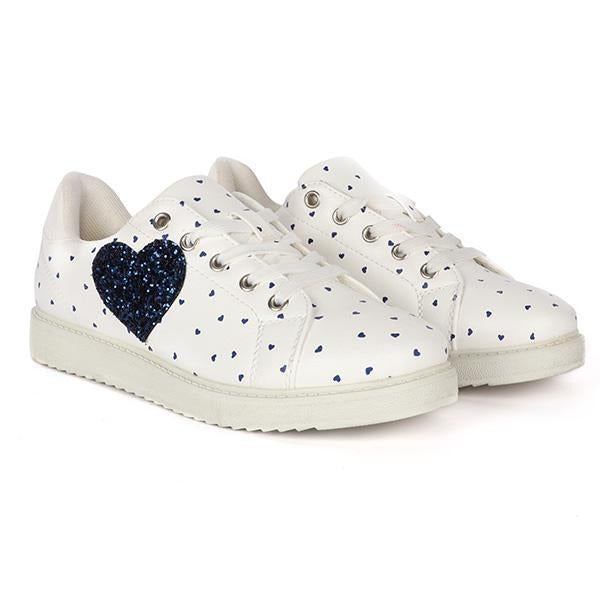 Girls White Heart Print Low Sneakers