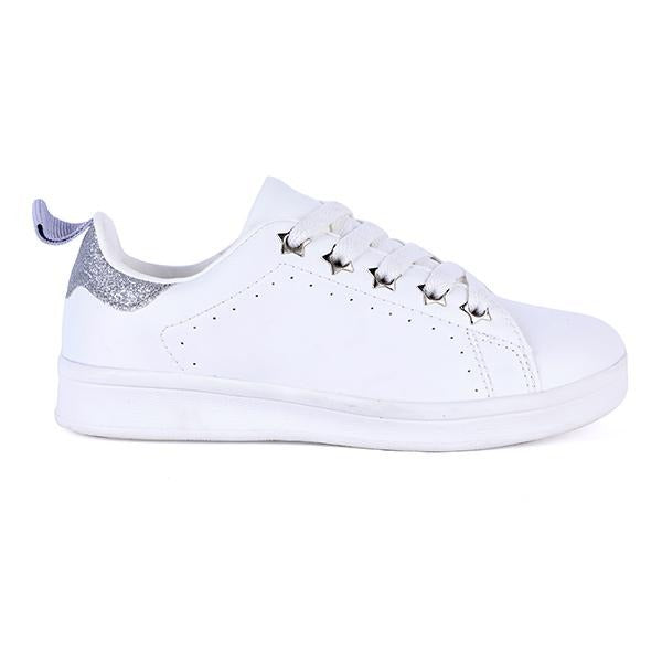 Girls White Lace Up Sneakers
