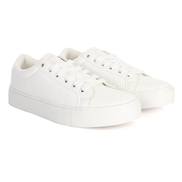 BOYS WHITE CASUAL LACE-UP SNEAKERS
