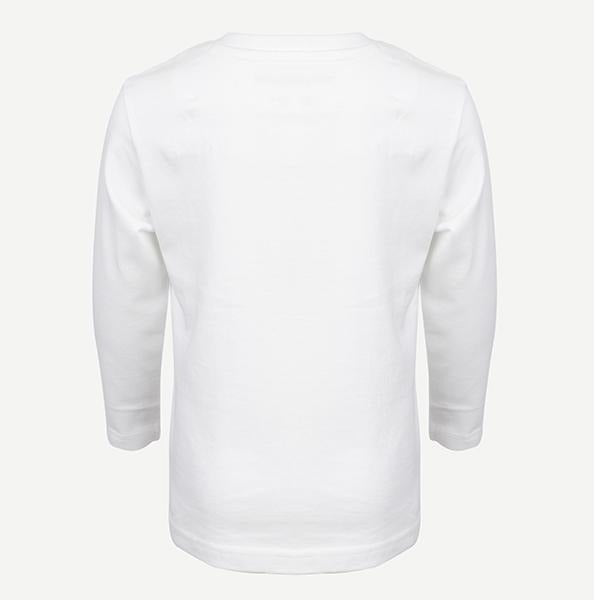BOYS WHITE LONG SLEEVE GRAPHIC POLO