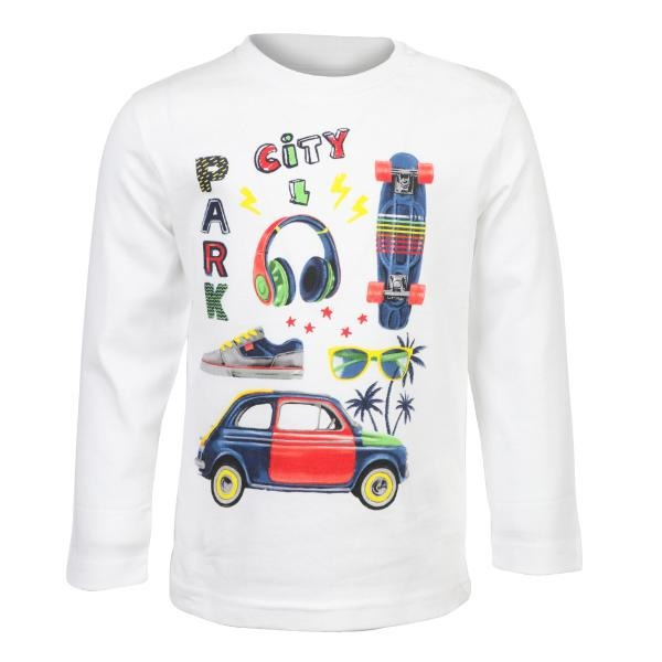 Boys White Long Sleeve Graphic T-shirt