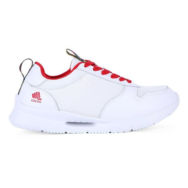 BOYS WHITE/RED LACE UP SNEAKERS