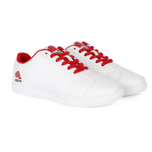 BOYS WHITE KEEXS LACE-UP SNEAKERS