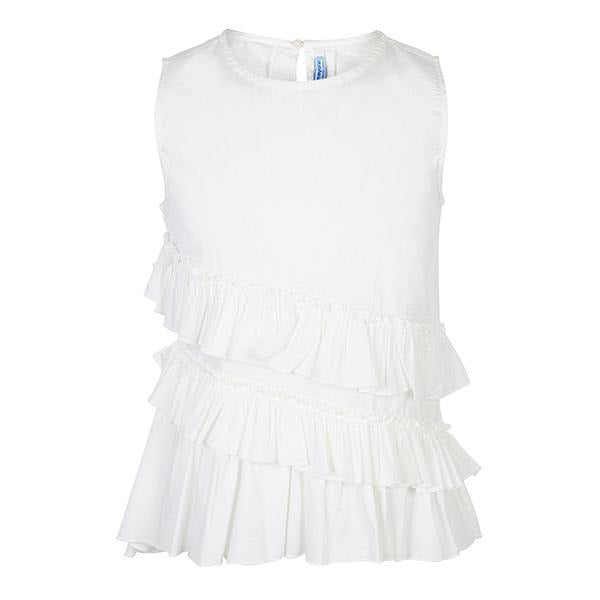 WHITE SLEEVELESS BLOUSE - ruffntumblekids