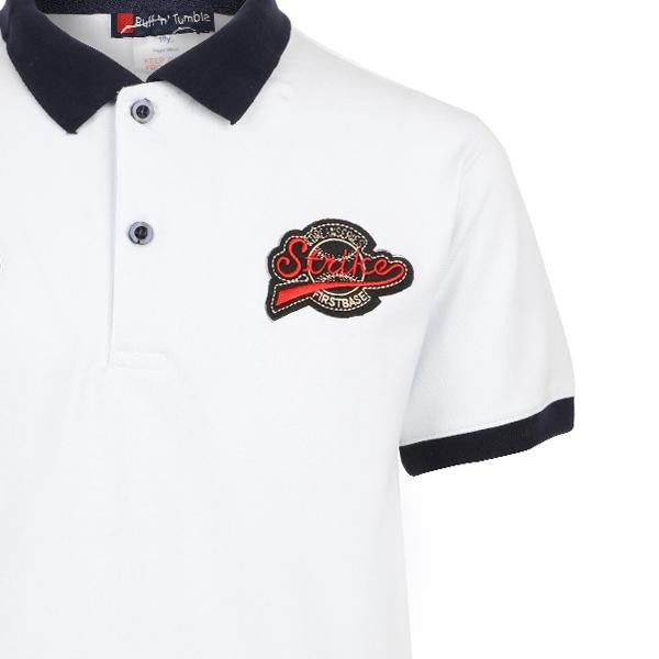 BOYS WHITE SHORT SLEEVE EMBROIDERED POLO - ruffntumblekids