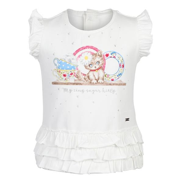 WHITE KITTY T-SHIRT - ruffntumblekids