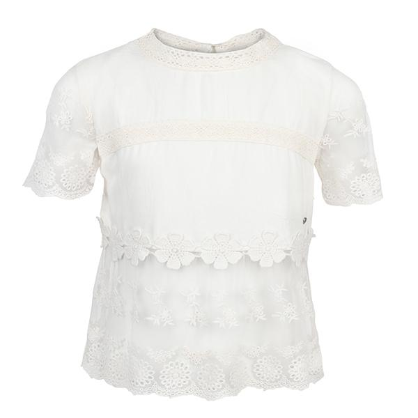 WHITE S/S LACE INSERT BLOUSE