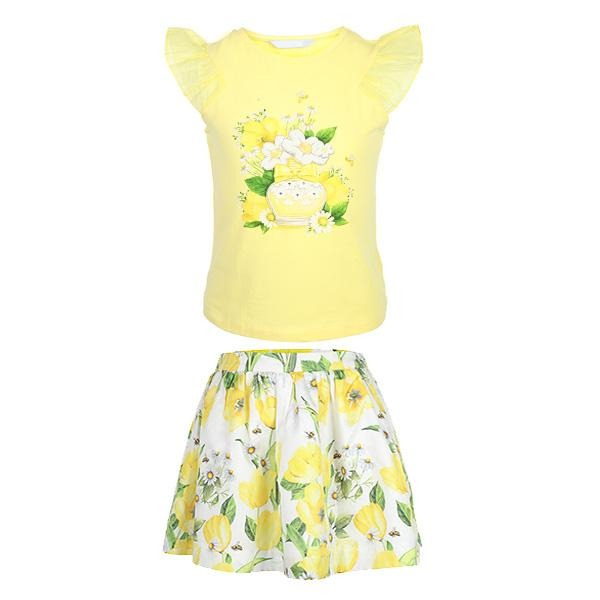 YELLOW PRINT SKIRT SET - ruffntumblekids