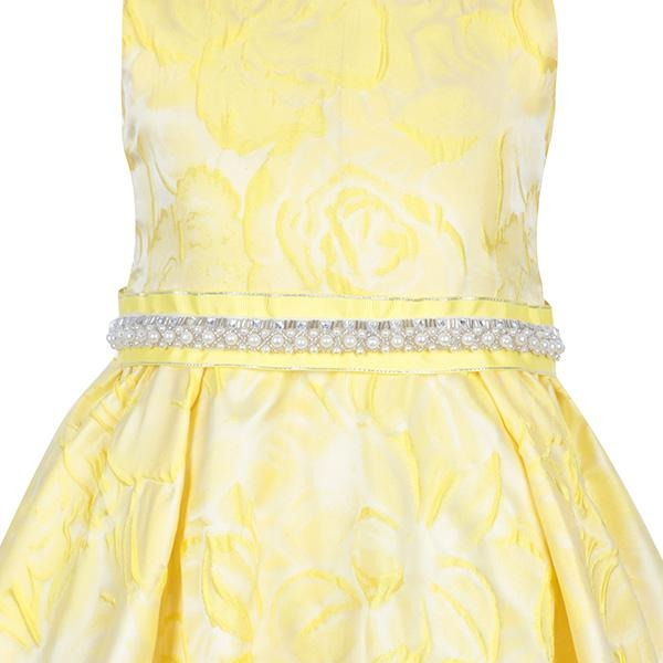 YELLOW FIT&FLARE DAMASK DRESS