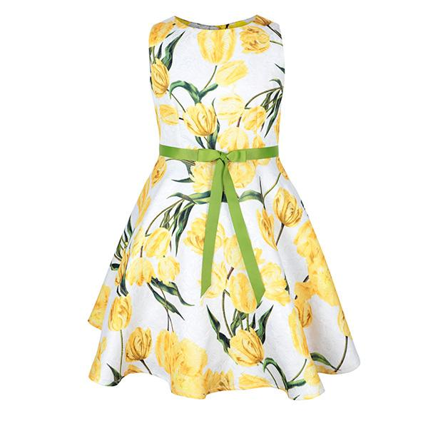 YELLOW FLORAL FIT&FLARE DRESS - ruffntumblekids
