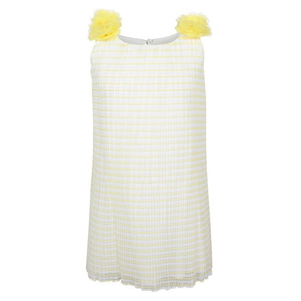 YELLOW PLEATED SHIFT DRESS - ruffntumblekids