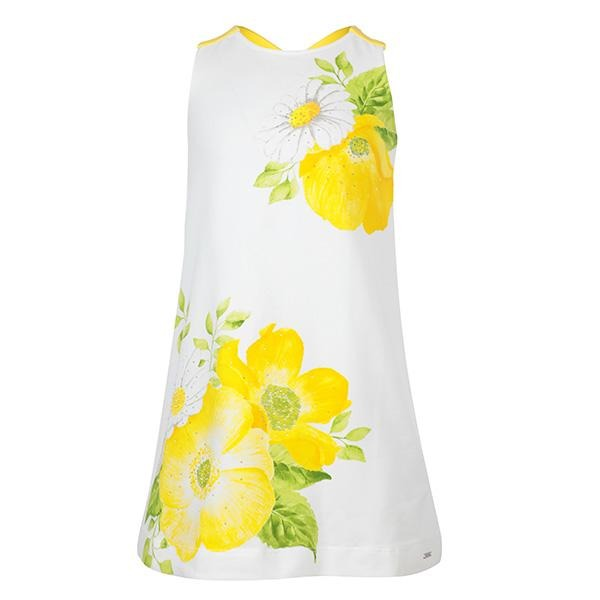 YELLOW PRINT STRASS DRESS
