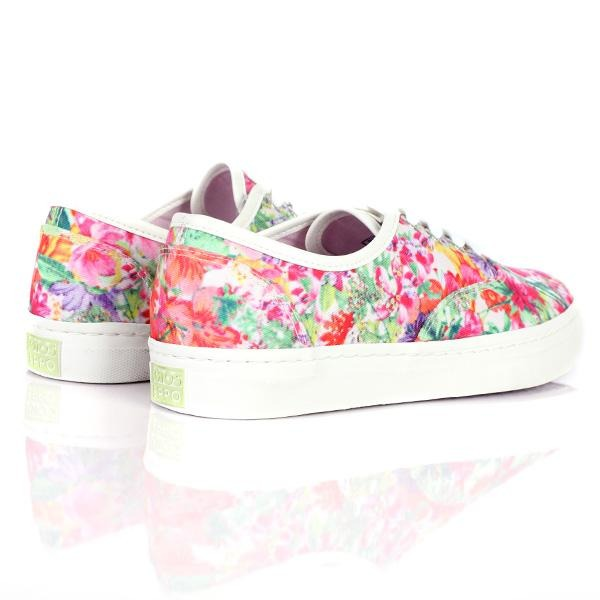 GIRLS MULTI COLOR FLORAL SNEAKERS - ruffntumblekids
