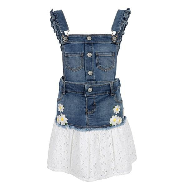 Girls Blue denim skirt dungaree_ruffntumble