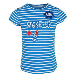 GIRLS COBALT SHORT SLEEVES STRIPED TOP - ruffntumblekids