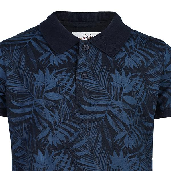 BOYS NAVY LEAF PRINT COTTON POLO - ruffntumblekids